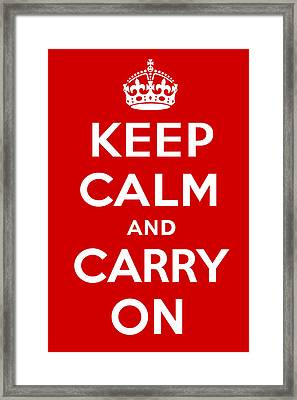 Keep Calm And Carry On Framed Print by S Martin