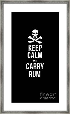 Keep Calm And Carry Rum Pirate Tee Framed Print by Edward Fielding