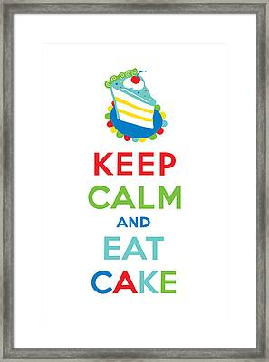 Keep Calm And Eat Cake  Framed Print by Andi Bird