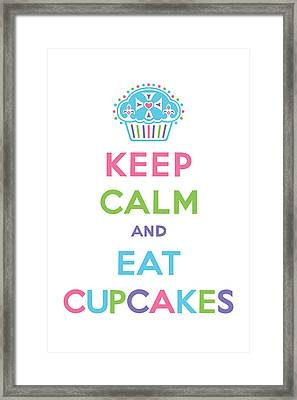 Keep Calm And Eat Cupcakes - Multi Pastel Framed Print by Andi Bird