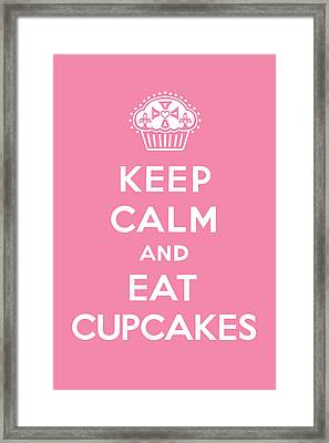 Keep Calm And Eat Cupcakes - Pink Framed Print