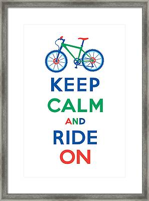 Keep Calm And Ride On - Mountain Bike Framed Print by Andi Bird
