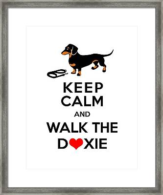 Keep Calm And Walk The Doxie Framed Print