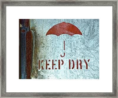 Keep Dry Sign Framed Print by Carol Leigh