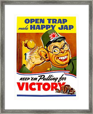Keep Em Pulling For Victory - Ww2 Framed Print by War Is Hell Store