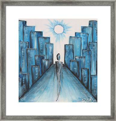 Framed Print featuring the painting Keep Walking by Sladjana Lazarevic