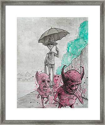 Keep Your Demons Leashed Framed Print by Chase Fleischman