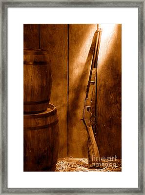 Keeping The Stockroom - Sepia Framed Print