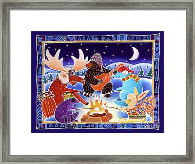 Keeping Warm By The Fire Framed Print