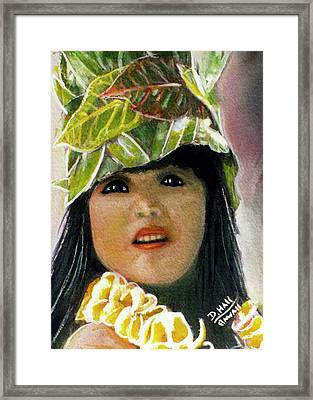 Keiki Child In Hawaiian #115 Framed Print by Donald k Hall