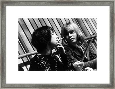 Framed Print featuring the photograph Keith Moon Brian Jones 1968 by Chris Walter