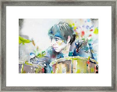 Keith Moon - Watercolor Portrait Framed Print by Fabrizio Cassetta