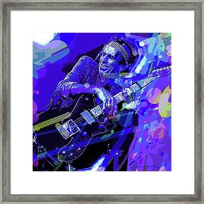 Keith Richards Blue Framed Print