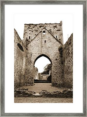 Kells Priory Arched Entry Beneath Tower County Kilkenny Ireland Sepia Framed Print