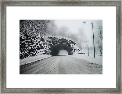 Kelly Drive Rock Tunnel In The Snow Framed Print