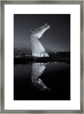Kelpies In Black And White Framed Print by Stephen Taylor