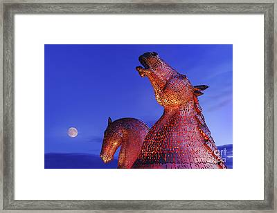 Kelpies Moonrise Framed Print by Rod McLean