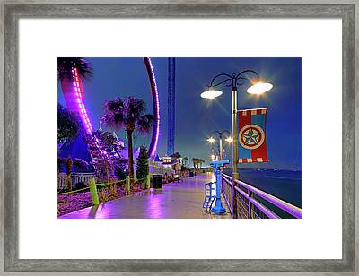 Framed Print featuring the photograph Kemah Boardwalk - Amusement Park - Texas by Jason Politte