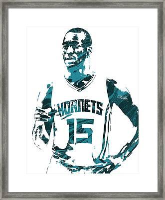 Kemba Walker Charlotte Hornets Pixel Art 4 Framed Print by Joe Hamilton
