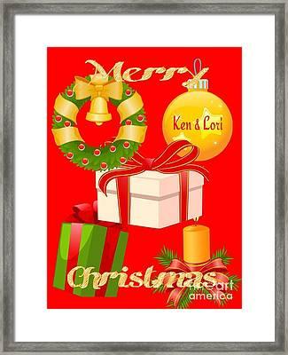 Ken And Lori Xmas Greeting  Framed Print by Gayle Price Thomas