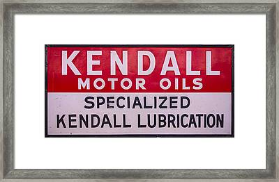 Kendall Motor Oils Sign Framed Print