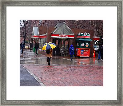 Kendall Square Rainy Day Cambridge Ma Framed Print by Toby McGuire
