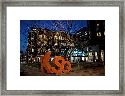 Kendall Square Sign Cambridge Ma Night Framed Print by Toby McGuire