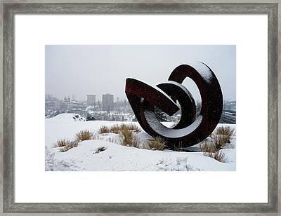 Kendall Yards - Centennial Trail - Winter Storm - Spokane Framed Print