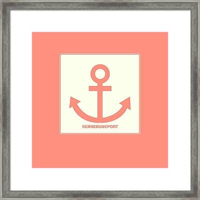 Kennebunkport Orange Anchor Framed Print by Brandi Fitzgerald