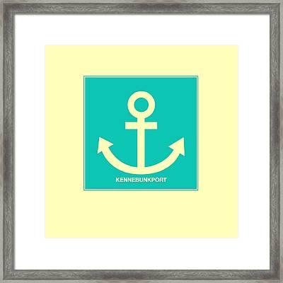Kennebunkport Yellow Anchor Framed Print by Brandi Fitzgerald