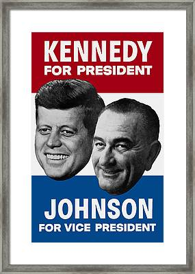 Kennedy And Johnson 1960 Election Poster Framed Print by War Is Hell Store
