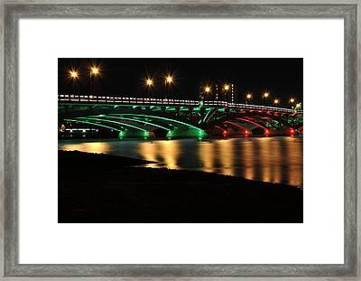 Kenneth F. Burns Memorial Bridge- Christmas Lights Framed Print by Luke Moore