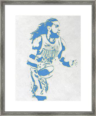 Kenneth Faried Denver Nuggets Pixel Art Framed Print by Joe Hamilton