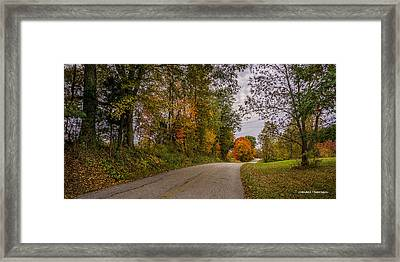 Kentucky County Lane In Fall Framed Print by Wendell Thompson