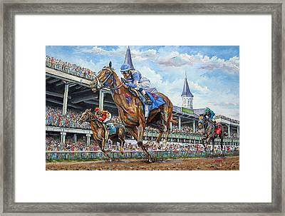 Kentucky Derby - Horse Racing Art Framed Print by Mike Rabe