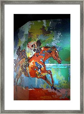 Kentucky Horse Park - Mural Of Horse Race  Framed Print by Thia Stover