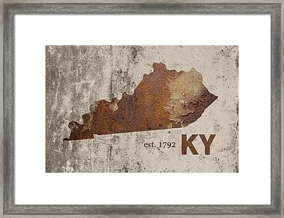 Kentucky State Map Industrial Rusted Metal On Cement Wall With Founding Date Series 002 Framed Print by Design Turnpike