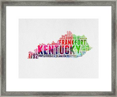 Kentucky Watercolor Word Cloud Map Framed Print by Naxart Studio