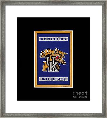 Ky Wildcats Logo T-shirt Framed Print by Herb Strobino
