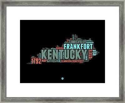Kentucky Word Cloud Map 1 Framed Print by Naxart Studio