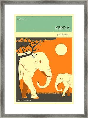 Kenya Travel Poster Framed Print by Jazzberry Blue