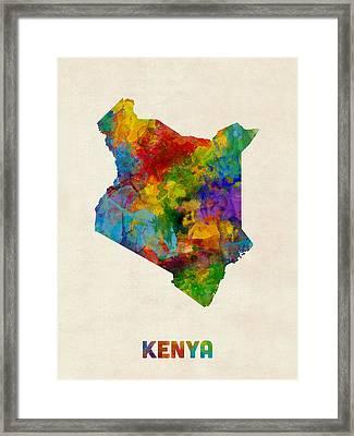 Framed Print featuring the digital art Kenya Watercolor Map by Michael Tompsett
