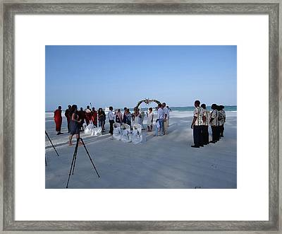 Kenya Wedding On Beach 2 With Maasai Framed Print
