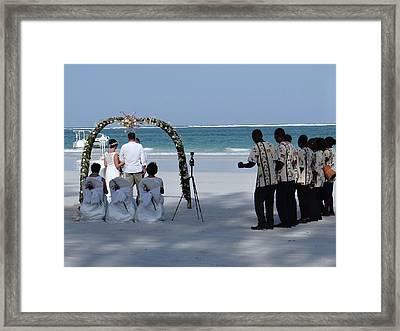 Kenya Wedding On Beach Happy Couple Framed Print