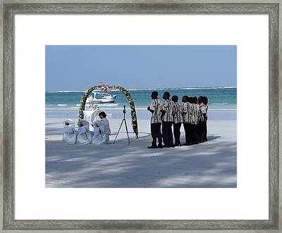 Kenya Wedding On Beach Singers Framed Print