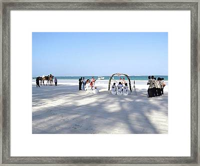 Kenya Wedding On Beach Wide Scene Framed Print