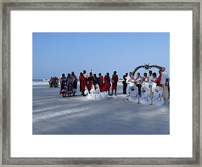 Kenya Wedding On Beach With Maasai Framed Print