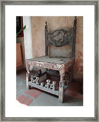 Kenyan African Antique Carved Chair Framed Print