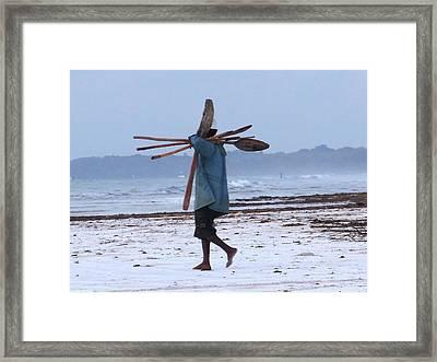 Kenyan Fisherman And Oars Framed Print