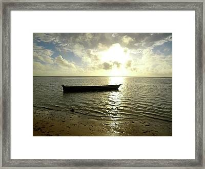 Kenyan Wooden Dhow At Sunrise Framed Print